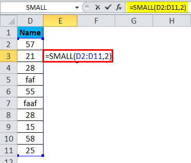 SMALL Function Error 1-1