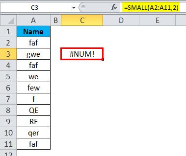 SMALL Function Error 2-2