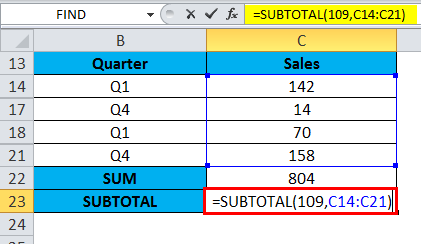 SUBTOTAL function to Sum up the data