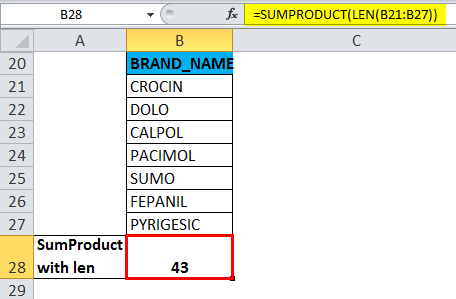 SUMPRODUCT Example 4.4