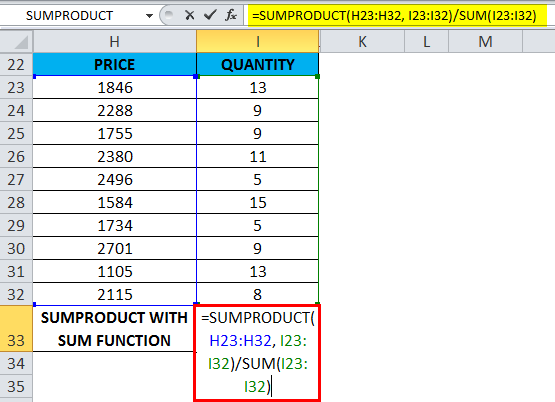 SUMPRODUCT Example 5.1