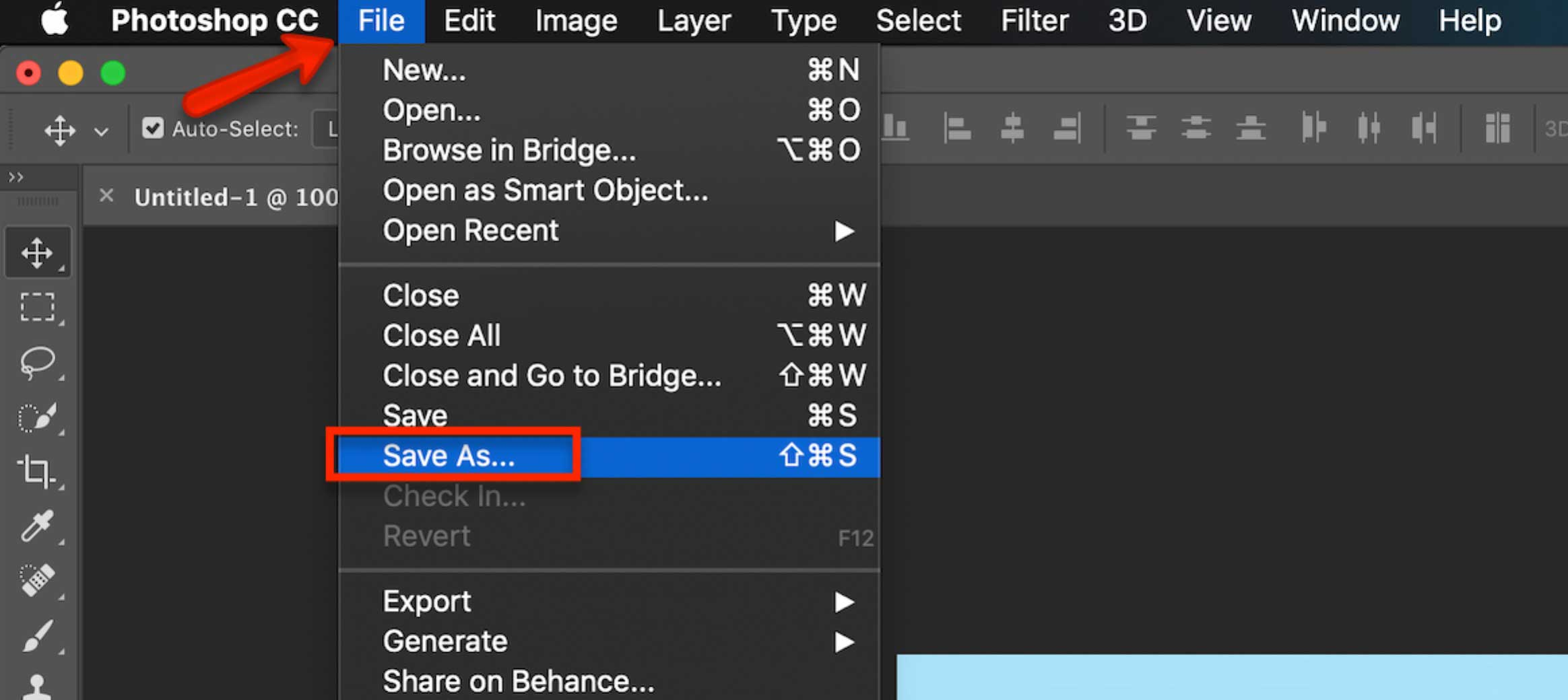Photoshop Commands - Saving as