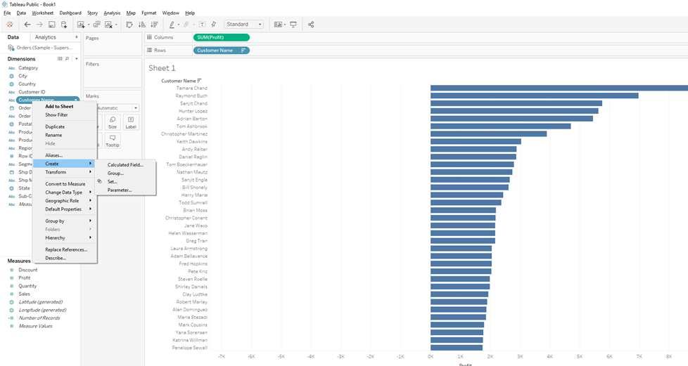 Creating Set in Tableau