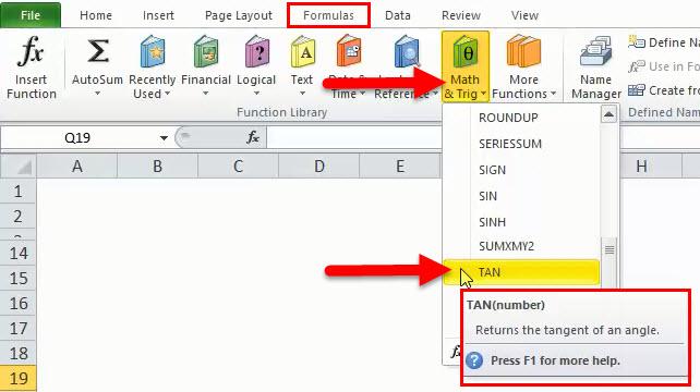 TAN Function in Excel