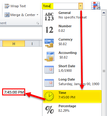 time function in excel -TIME Format 1
