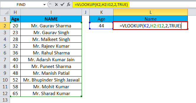 VLOOKUP Example 2-2