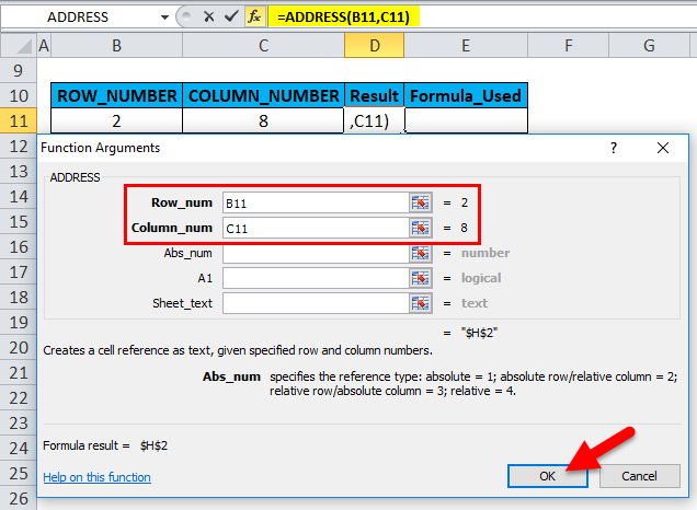 ADDRESS Function Example 1-4