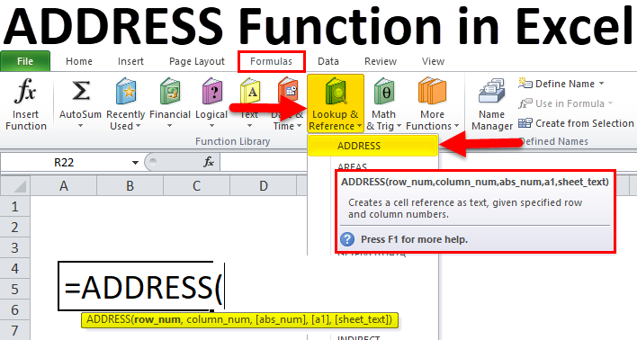 ADDRESS in excel (Formula, Examples) | How to Use?