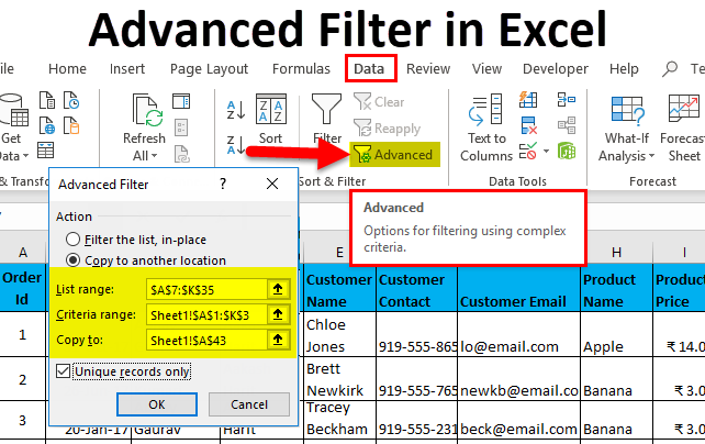 Advanced Filter in Excel (Examples) | How to Use Advanced Filter in
