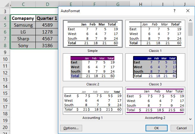 Auto Format Example 1-3