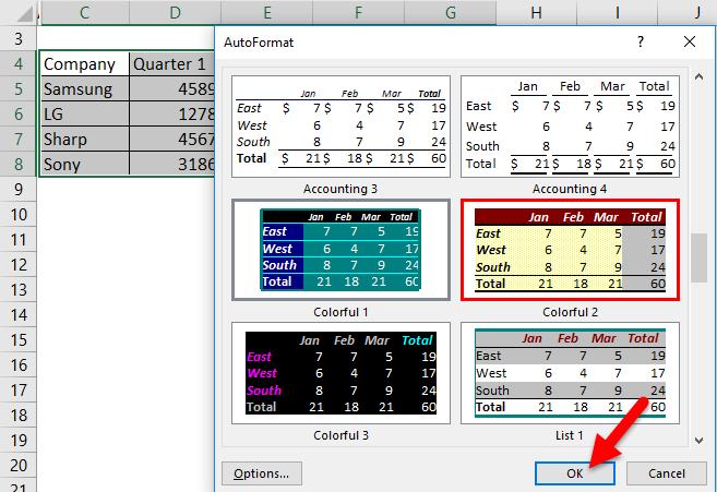 Auto Format Example 1-4