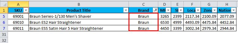 AutoFilter Example 1-5