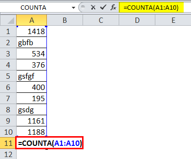 COUNTA Function 1-1