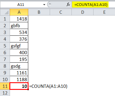 COUNTA Function 1-2