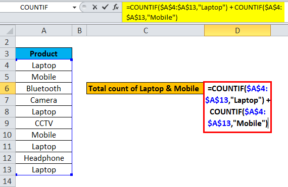 COUNTIF with Multiple Criteria Example 1-2