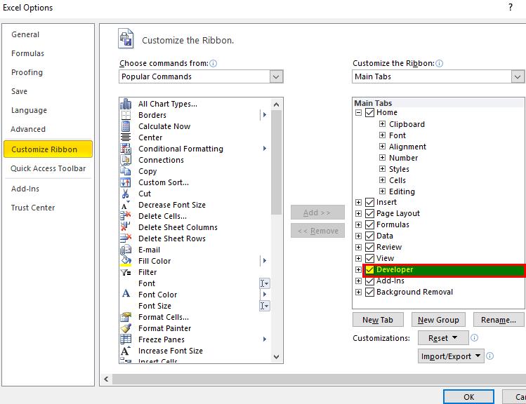 CheckBox Developer tab 2