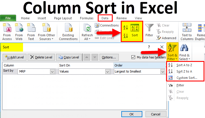 Column Sort in Excel