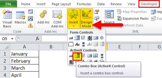Combo Box Example 2-14