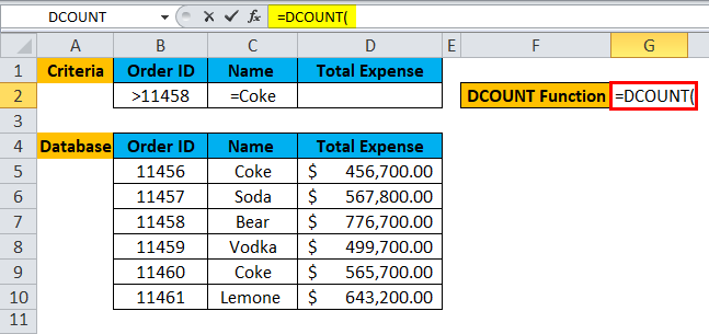 DCOUNT Function Example 1-2