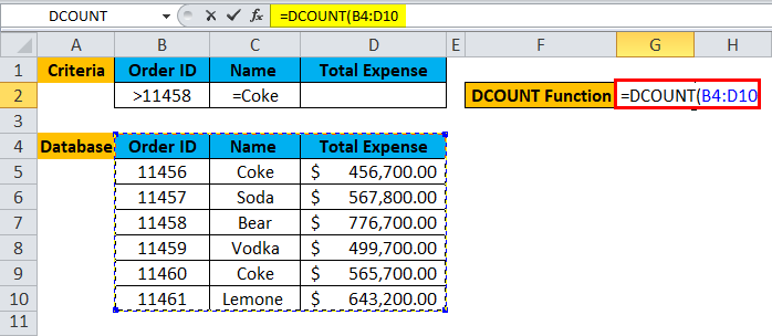 DCOUNT Function Example 1-3