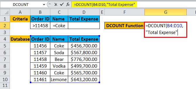 DCOUNT Example 1-4