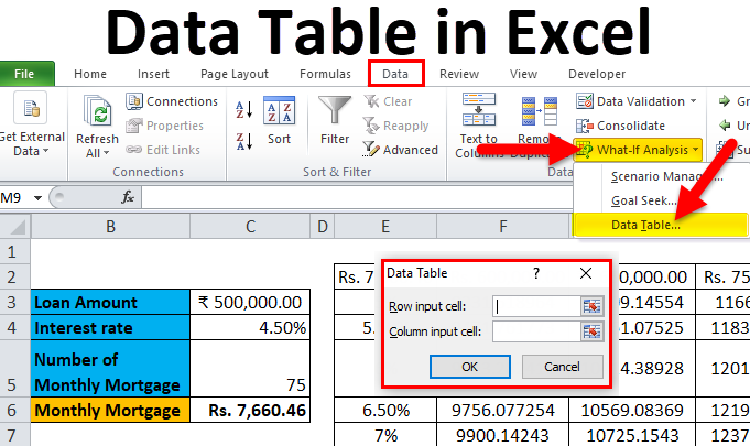 Data Table in Excel