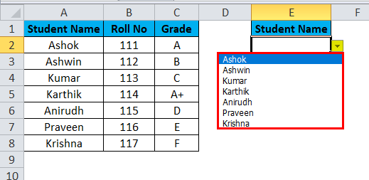 Drop Down List Example 1-7