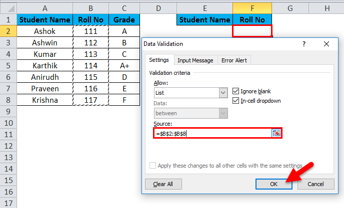 Drop Down List Example 1-8