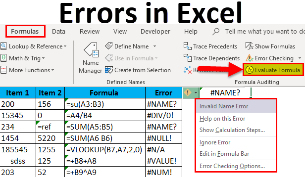 Errors in Excel