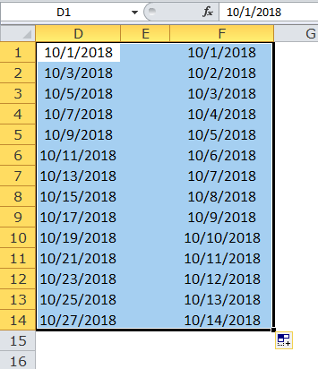 Excel Fill Handle Example 5-2