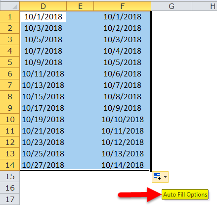 Excel Fill Handle Example 6-1