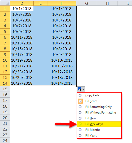 Excel Fill Handle Example 6-2