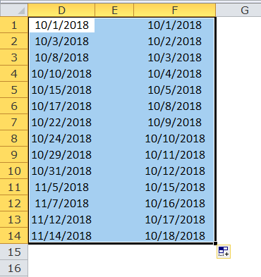 Excel Fill Handle Example 6-3