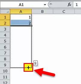 Excel Fill Handle Example 1-2