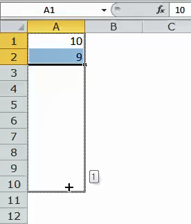 Excel Fill Handle Example 3-2