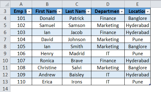 Excel Table Example 1-4