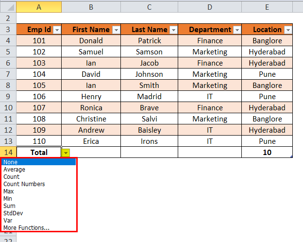 Excel Table Step 3-2