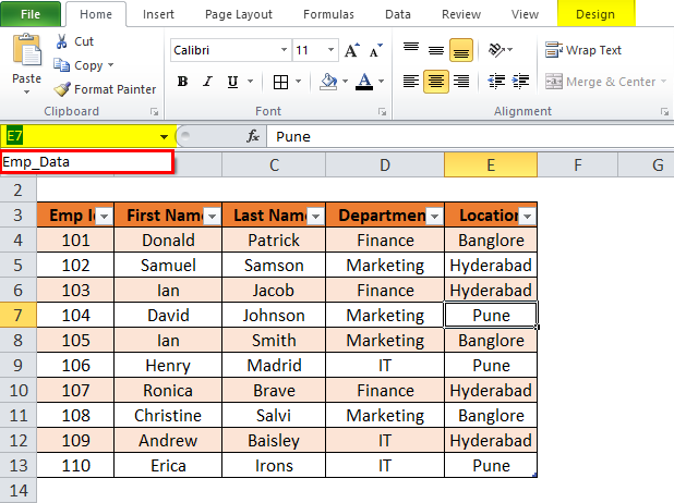 Excel Table Step 3