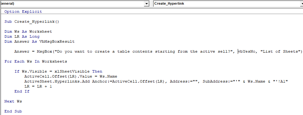Create HYPERLINK through VBA Code
