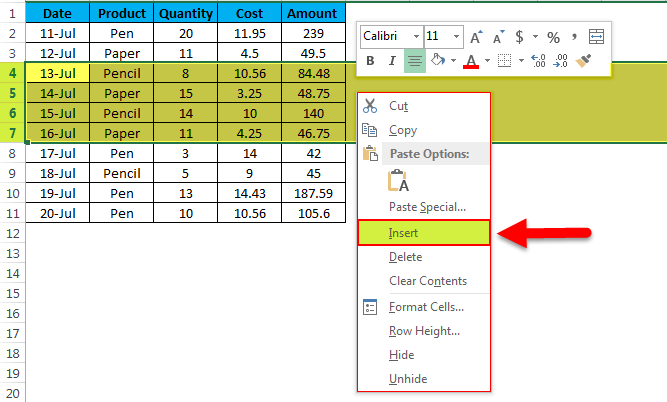 Insert multiple rows example 2.- 3