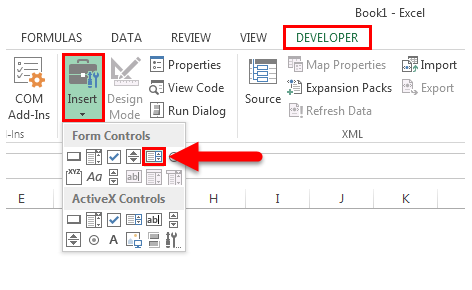 List box in excel step 1