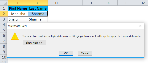 Merge Cells Example 1-4