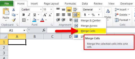 Merge Cells option