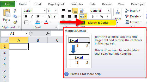Merge and Center option