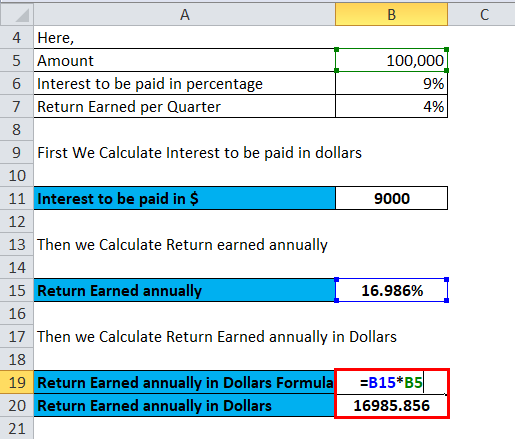 Calculation of return eared annually in dollars