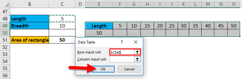 One Variable Data Table Example 1-11
