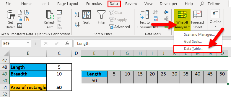 One Variable Data Table Example 1-7