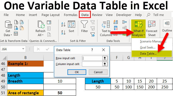 One Variable Data Table in Excel
