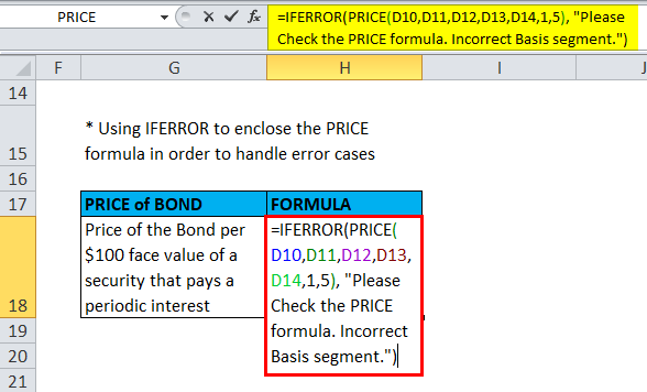 IFERROR With PRICE Formula