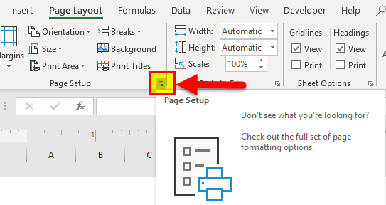 Page Layout Button